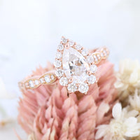 Pear moissanite engagement ring rose gold halo diamond ring la more design jewelry