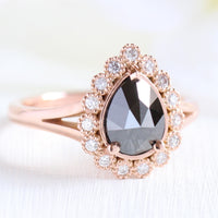 Pear rose cut black diamond engagement ring in rose gold halo diamond band by la more design jewelry