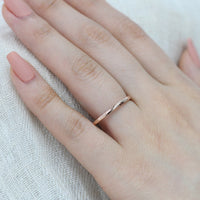 Straight Solid Plain Gold Wedding Band in 14k Rose Gold, Size 7.75