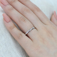 Straight Solid Plain Gold Wedding Band in 14k White Gold, Size 6