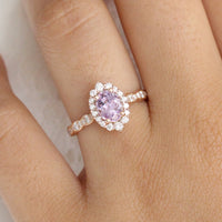 Purple Sapphire Engagement Ring Rose Gold Cluster Diamond Halo Ring by La More Design Jewelry