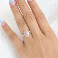Purple Sapphire Engagement Ring Rose Gold Halo Diamond Cluster Ring by La More Design Jewelry