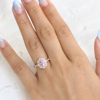 Purple Sapphire Engagement Ring Rose Gold Vintage Floral Diamond Ring by La More Design Jewelry