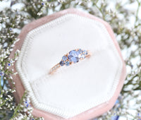 Purple Sapphire Engagement Ring in Rose Gold 3 Stone Diamond Ring by La More Design Jewelry