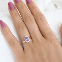 Purple Sapphire Engagement Ring in Rose Gold Halo Diamond Pear Ring by La More Design Jewelry