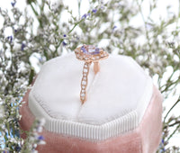 Custom Vintage Floral Lavender Sapphire Engagement Ring in 14k Rose Gold, Size 6.75