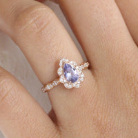 Purple Sapphire Engagement Ring in Rose Gold Vintage Floral Pear Diamond Ring by La More Design Jewelry