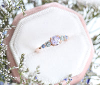 Purple and Montana Blue Sapphire Engagement Ring in Rose Gold 5 Stone Ring by La More Design Jewelry