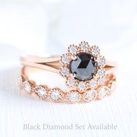 rose cut black diamond ring and vintage style diamond wedding set in rose gold by la more design
