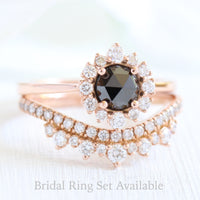 rose cut black diamond ring and rose gold crown diamond wedding set by la more design