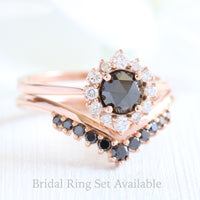 rose cut black diamond ring and v shaped diamond wedding set in rose gold by la more design