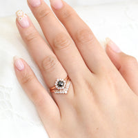 Rose gold rose cut black diamond ring and v shaped diamond wedding set by la more design