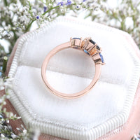 Round Blue Sapphire Engagement Ring in Rose Gold 3 Stone Ring by La More Design Jewelry