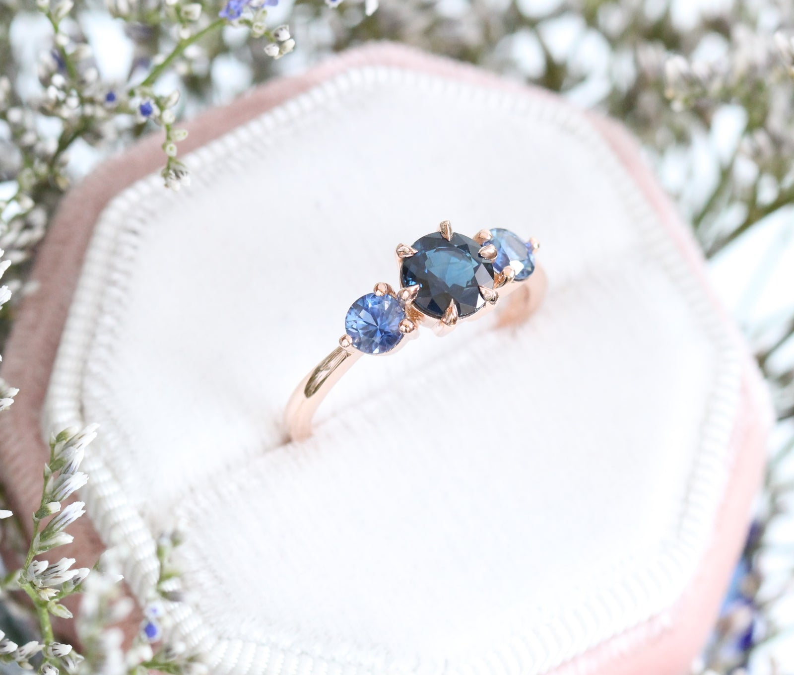 6 Prong Blue Sapphire Engagement Ring In 14k Rose Gold 3 Stone Ring Size 6 La More Design