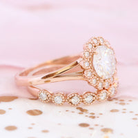 vintage halo moissanite ring and milgrain diamond band bridal set rose gold by la more design