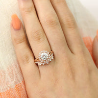 vintage halo moissanite ring and crown diamond band bridal set in rose gold by la more design