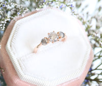 Salt and Pepper Gray Diamond Engagement Ring in Rose Gold 3 Stone Diamond Ring by La More Design Jewelry