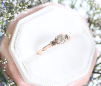 Salt and Pepper Grey Diamond Engagement Ring in Rose Gold 3 Stone Diamond Ring by La More Design Jewelry