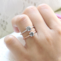 Salt and Pepper Grey Diamond Engagement Ring in Rose Gold Low Profile Solitaire Ring by La More Design Jewelry