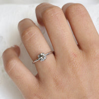 Salt and Pepper Grey Diamond Engagement Ring in White Gold Low Profile Solitaire Ring by La More Design Jewelry