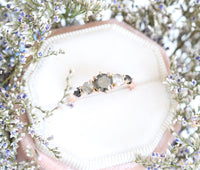 Salt and Pepper Grey and Black Diamond Engagement Ring in Rose Gold 5 Stone Ring by La More Design Jewelry