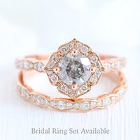 Salt and pepper grey diamond engagement ring in rose gold vintage floral diamond band by la more design jewelry