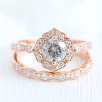 Salt and pepper grey diamond engagement ring rose gold and matching diamond wedding band bridal set by la more design jewelry