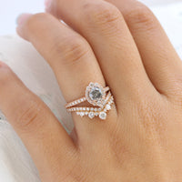Salt and pepper diamond ring rose gold halo ring bridal set la more design jewelry
