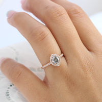 Salt and pepper diamond ring rose gold halo ring pave diamond band la more design jewelry