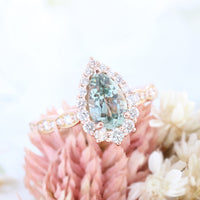 Sea Foam Green Sapphire Ring Rose Gold Halo Diamond Engagement Ring La More Design Jewelry