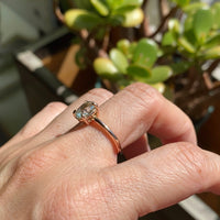 Sea foam green sapphire engagement ring rose gold low profile solitaire ring la more design jewelry
