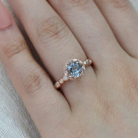 rose gold aquamarine ring pebble engagement ring diamond band by la more design