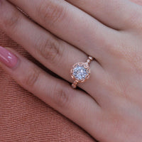 aquamarine floral engagement ring pebble diamond band rose gold by la more design