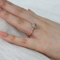 Floral Solitaire Aquamarine Ring in 14k Rose Gold Diamond Band, Size 5.5