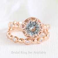 Floral Solitaire Ring in Pebble Band w/ 8mm Aquamarine and Diamond