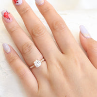 Solitaire cushion moissanite engagement ring in rose gold diamond scalloped band by la more design