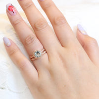 Solitaire green amethyst ring and matching diamond wedding band in rose gold floral bridal set by la more design jewelry