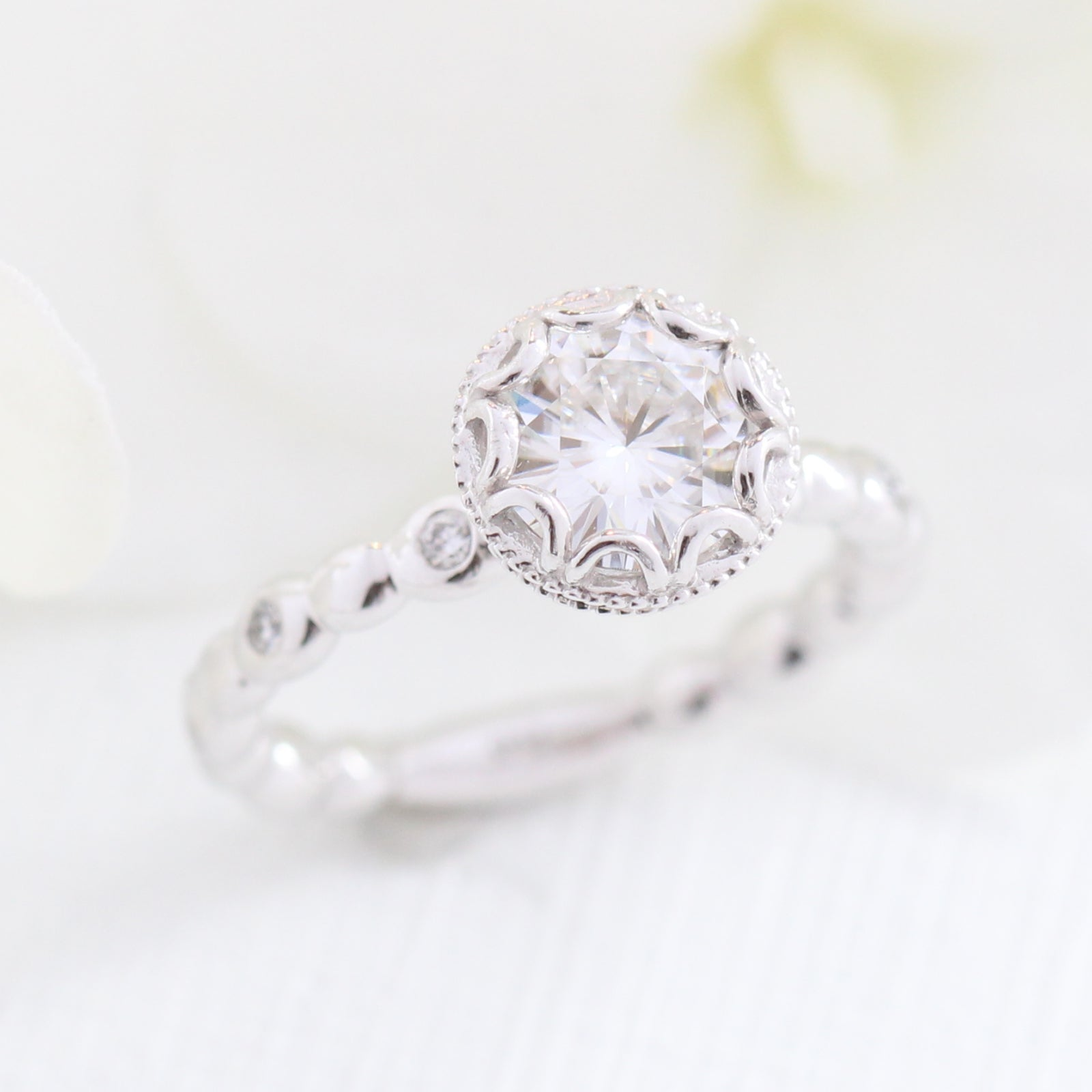 8434f39350863f Floral Solitaire Ring in Pebble Band w/ 7mm Moissanite and Diamond   La  More Design