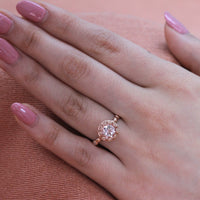 rose gold morganite ring pebble engagement ring diamond band by la more design