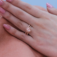 morganite engagement ring set rose gold pebble diamond band by la more design