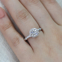 Solitaire Moissanite Ring in 14k White Gold Floral Diamond Band, Size 5.5