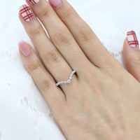 V shaped diamond ring in white gold curved wedding band by la more design