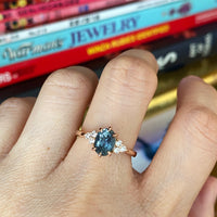 Teal Sapphire Ring Rose Gold 3 Stone Diamond Engagement Ring La More Design Jewelry