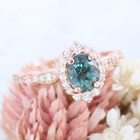 Teal Sapphire Ring Rose Gold Tiara Halo Diamond Engagement Ring La More Design Jewelry