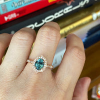 Teal Sapphire Ring Rose Gold Vintage Floral Diamond Engagement Ring La More Design Jewelry