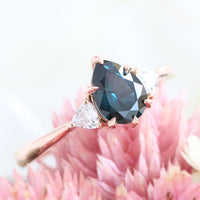 Teal green sapphire engagement ring rose gold per cut 3 stone ring la more design jewelry