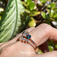 Teal green sapphire ring rose gold 3 stone moissanite ring la more design jewelry