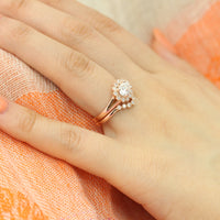 unique moissanite ring bridal set in rose gold east west setting diamond ring by la more design
