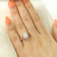 unique moissanite ring bridal set in rose gold vintage inspired diamond ring by la more design