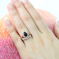 Pear black spinel ring bridal set in rose gold vintage inspired diamond band by la more design
